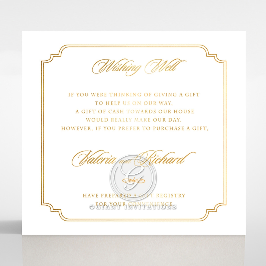 Ivory Victorian Gates with Foil wedding stationery wishing well enclosure invite card design
