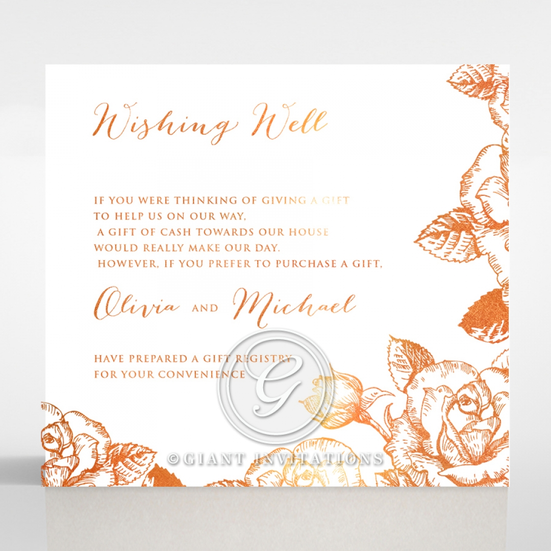 Rose Romance Letterpress with foil gift registry card design