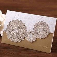 Gold Rustic Wedding Card with white laser cut