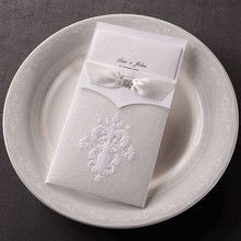 Classic damask pocket wedding card with ribbon