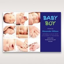 Purple 3 by 3 Boy - Birth Announcement - 44