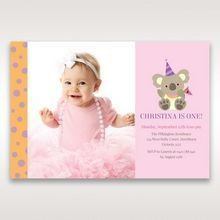 Pink Koala Cheer Squad - 1st Birthday Invitations - 81