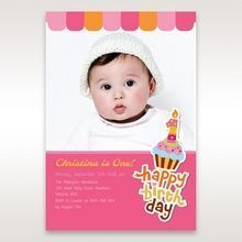 Pink Cup Cake II - 1st Birthday Invitations - 68