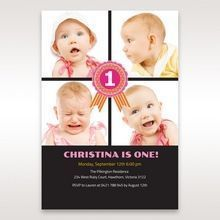 Black One Once II - 1st Birthday Invitations - 92