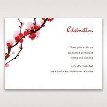 Red Plum Blossoms - Reception Cards - Wedding Stationery - 1