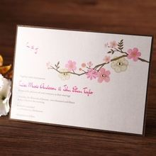 Rectangular digital printed spring flower designed flat layer wedding card