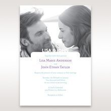 White rectangular photo invitation with blue and purple digital text