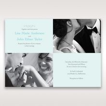Four sided digital printed invite with pictures alternate sides and blue colored wedding invitation flat layered