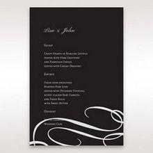 Black  Elegant Swirls, Silver & White - Menu Cards - Wedding Stationery - 95