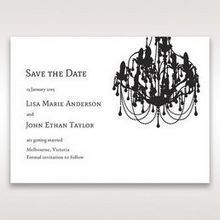 Black Black, White Chandelier - Save the Date - Wedding Stationery - 80