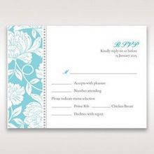 Blue Vintage Floral in Blue - RSVP Cards - Wedding Stationery - 70