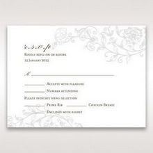 Green Romatic Couture with Pearls - RSVP Cards - Wedding Stationery - 99