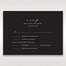 Black   Elegant Swirls, Silver & White - RSVP Cards - Wedding Stationery - 90