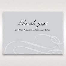 Silver/Gray Elegant Swirls; Silver & White - Thank You Cards - Wedding Stationery - 46