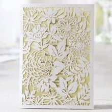 Laser cut floral garden wedding invitations