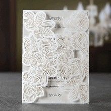 Gate fold wedding invitation with white floral laser cut