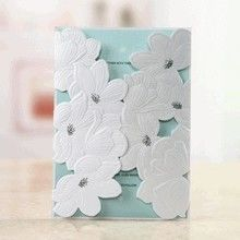 Blue Laser Cut Flower Wrap - Wedding invitation - 48