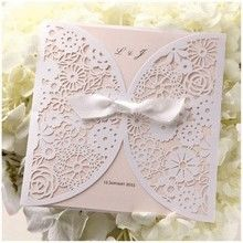 Laser cut pocket floral wedding invitation; light pink inner card