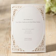 Traditional White Wedding Invitation with laser cut corners