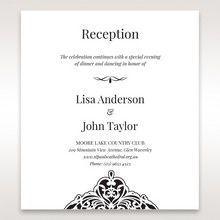 White Jeweled Romance Black Lasercut Pocket - Reception Cards - Wedding Stationery - 87