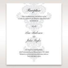 White Letter-fold Damask Pocket - Reception Cards - Wedding Stationery - 63