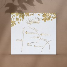 Foiled Botanicals Details Card with Map - Reception Cards - D-KI300-PFL-GG-10 - 184513