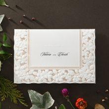 Embossed Floral Frame wedding invitations HB15106