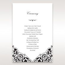 White Jeweled Romance Black Laser Cut - Order of Service - Wedding Stationery - 27