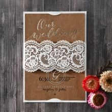 Golden Country Lace Wedding invitation in Brown PWI115083