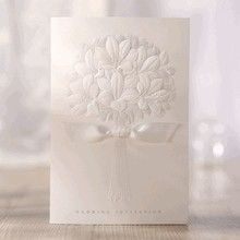 Embossed ribboned flower design folded wedding invite