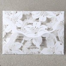 White Lily Blossoms Laser Cut Wrap - Wedding invitation - 49