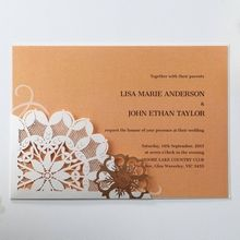Orange Laser Cut Floral Frame - Corporate Invitation - 58