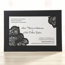 Black Floral Laser Cut Frame Wedding Invitation