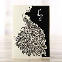 Pocket style laser cut wedding invite, white laser cut, peacock designed, black insert, digital print