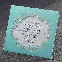 Floral forest laser cut tiffany blue pocket invites
