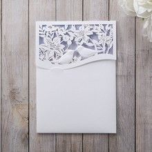 Purple Lasercut pocket with Love Birds - Wedding invitation - 96