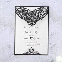 Black laser cut flap with gem, draped on a white matte inner card, digitally printed calligraphic writing