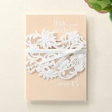Beige White Laser Cut Wrap with Ribbon - Wedding invitation - 36