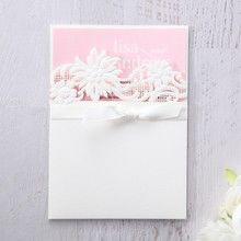Pink Laser Cut Floral Half Pocket  - Engagement Invitations - 83