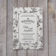 Silver/Gray Foil Stamped Vintage Floral Patterns - Wedding invitation - 44