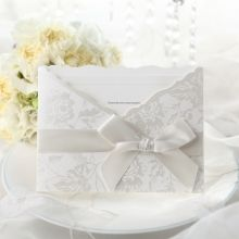 Traditional Ivory Pocket Wedding Invitation with Ribbon