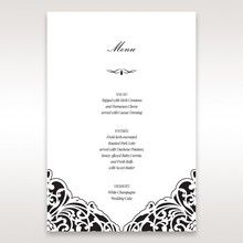 White Jeweled Romance Black Laser Cut - Menu Cards - Wedding Stationery - 71