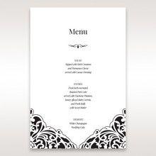 White Jeweled Romance Black Lasercut Pocket - Menu Cards - Wedding Stationery - 79