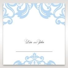 Blue Classy Laser Cut with White Bow - Place Cards - Wedding Stationery - 74