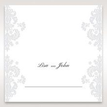 White Letter-fold Damask Pocket - Place Cards - Wedding Stationery - 26