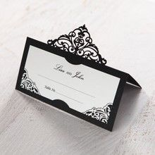 White Jeweled Romance Black Laser Cut - Place Cards - Wedding Stationery - 5