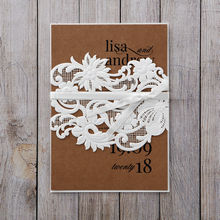 Brown Rustic Romance Laser Cut Sleeve - Wedding invitation - 42