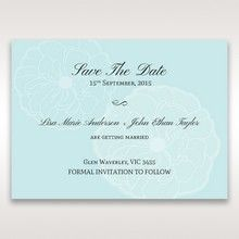 Blue Sculpted White Flower - Save the Date - Wedding Stationery - 77