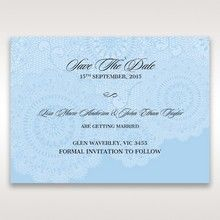 Blue Handmade Vintage Lace Floral - Save the Date - Wedding Stationery - 90