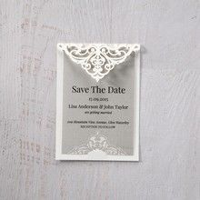 Silver/Gray Jeweled Romance Laser Cut - Save the Date - Wedding Stationery - 87